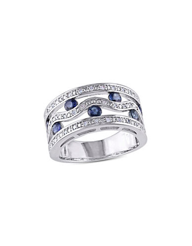 Concerto Sapphire  Sterling Silver and 0.20 TCW Diamond Floating Double Row Ring-SAPPHIRE-6