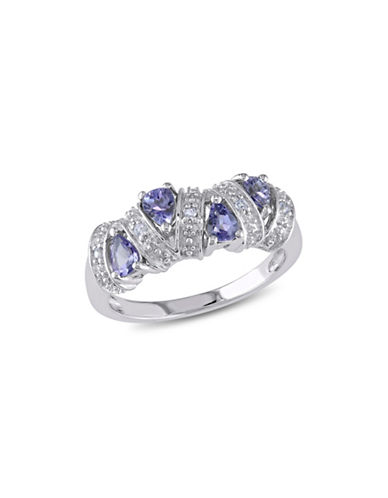 Concerto Tanzanite Teardrop Sterling Silver Journey Ring-BLUE-7
