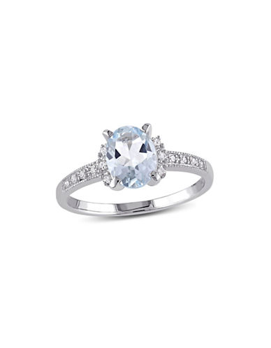 Concerto 0.07 TCW Diamond and Aquamarine Sterling Silver Ring-BLUE-7