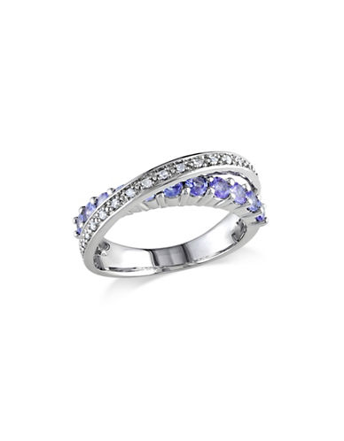 Concerto Tanzanite Sterling Silver and 0.10 TCW Diamond Crossover Ring-BLUE-5