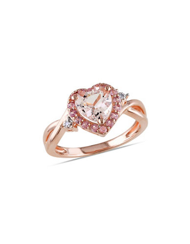 Concerto 0.01 TCW Diamond, Morganite and Pink Tourmaline Sterling Silver Ring-PINK-7