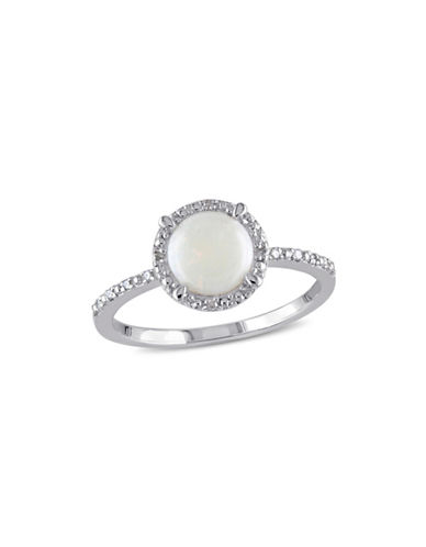 Concerto Opal Sterling Silver and 0.5 TCW Diamond Halo Ring-WHITE-9