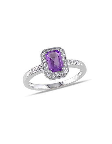 Concerto Amethyst Sterling Silver and 0.6 TCW Diamonds Cocktail Ring-PURPLE-7