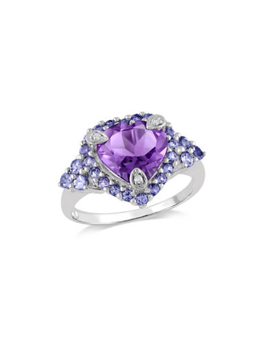 Concerto Amethyst and Tanzanite Heart Ring with 0.015 TCW Diamonds-AMETHYST-9