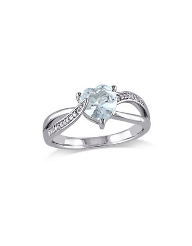 Concerto 0.5 TCW Diamond and Aquamarine Heart Sterling Silver Ring-BLUE-8