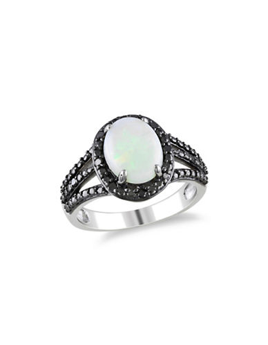 Concerto 0.10 TCW Black Diamond and Opal Halo Sterling Silver Ring-MULTI-9