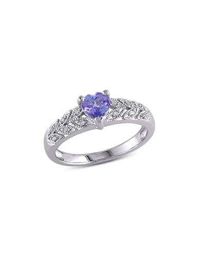 Concerto Tanzanite Sterling Silver and 0.06 TCW Diamond Vintage Heart Ring-BLUE-5
