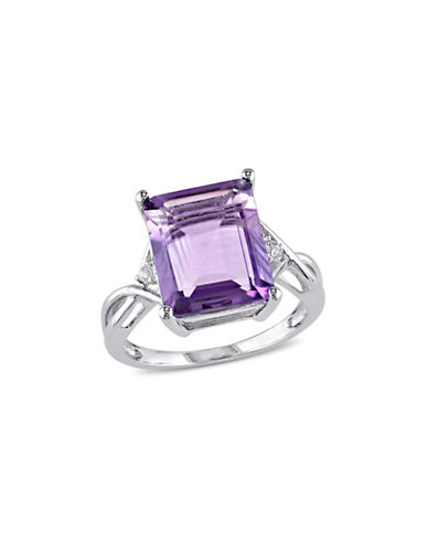 Concerto Sterling Silver Amethyst and White Topaz Ring-PURPLE-5