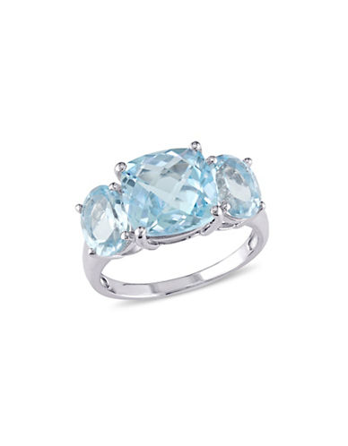 Concerto Sterling Silver Blue Topaz Three-Stone Ring-BLUE-6