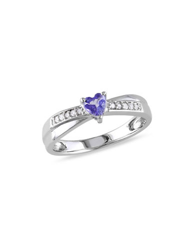 Concerto Tanzanite Sterling Silver and 0.05 TCW Diamond Heart Ring-TANZANITE-6