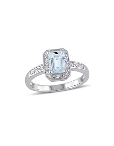 Concerto Aquamarine Sterling Silver and 0.06 TCW Diamond Halo Ring-BLUE-9