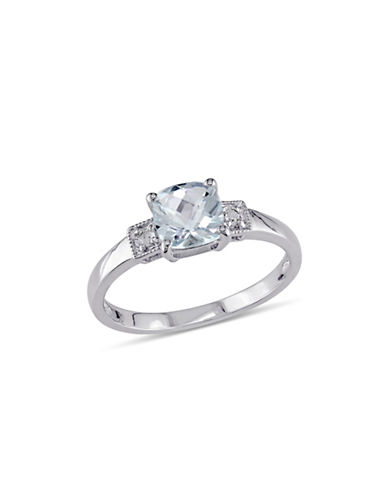 Concerto Cushion-Cut Aquamarine Sterling Silver and 0.04 TCW Diamond Ring-BLUE-5