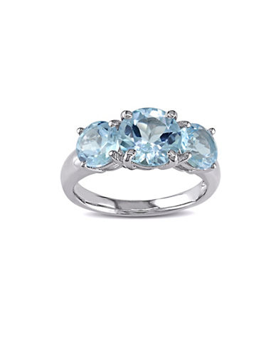 Concerto Sterling Silver Blue Topaz Three-Stone Ring-BLUE-7