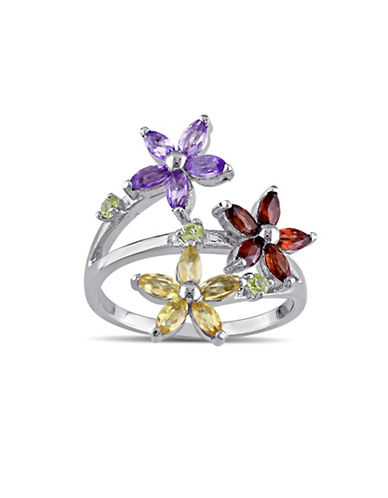 Concerto Sterling Silver Multi-Gemstone Flower Ring-MULTI-7