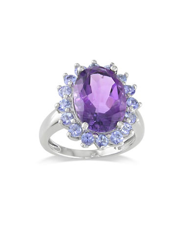 Concerto Sterling Silver Tanzanite and Amethyst Halo Ring-MULTI-8