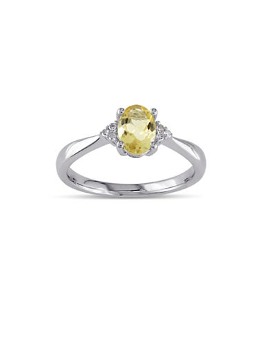 Concerto Citrine Sterling Silver and 0.03 TCW Diamond Ring-YELLOW-7