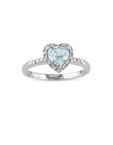Concerto 0.10 TCW Diamond and Aquamarine Halo Heart Sterling Silver Ring-BLUE-7