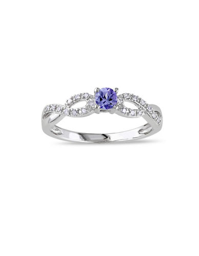 Concerto Tanzanite Sterling Silver and 0.10 TCW Diamond Infinity Ring-TANZANITE-7