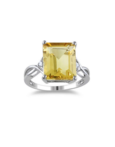 Concerto Sterling Silver Citrine and White Topaz Ring-YELLOW-7