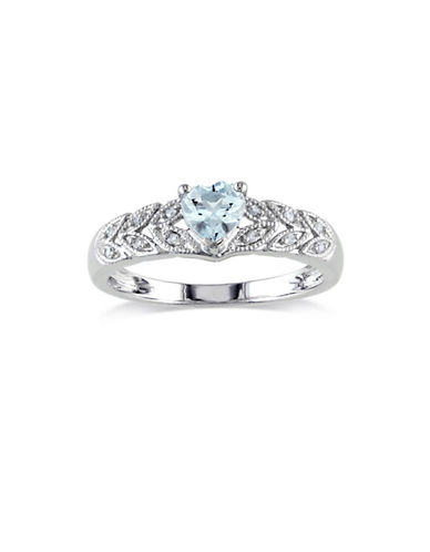 Concerto 0.05 TCW Diamond and Aquamarine Heart Sterling Silver Ring-BLUE-7