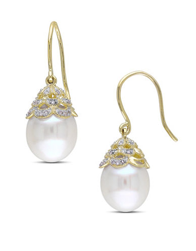 Concerto 10.5-11mm Cultured Pearl and 14K Yellow Gold Drop Earrings with 0.10 TCW Diamonds-WHITE-One Size