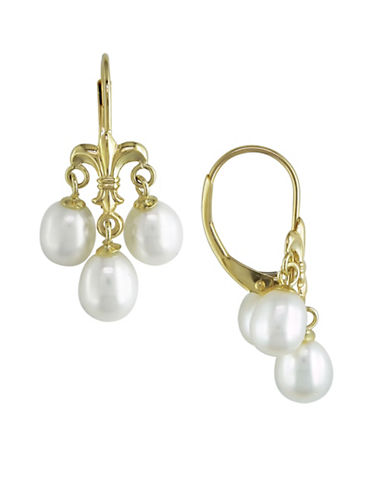 Concerto 5-6MM White Rice Cultured Pearl and 14K Yellow Gold Fleur-de-Lys Earrings-WHITE-One Size