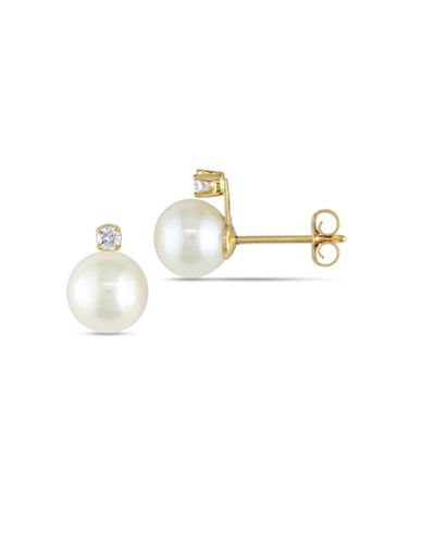 Concerto 6.5-7MM White Akoya Pearl 14K Yellow Gold Diamond Stud Earrings-WHITE-One Size