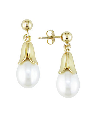 Concerto 8-8.5MM White Cultured Rice Pearl and 14K Yellow Gold Tulip Drop Earrings-WHITE-One Size