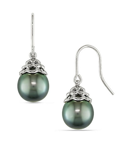 Concerto 9.5-10mm Cultured Tahitian Pearl and 14K White Gold Drop Earrings-BLACK-One Size