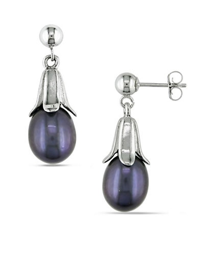 Concerto 7-8MM Black Rice Cultured Freshwater Pearl and 14K White Gold Tulip Drop Earrings-BLACK-One Size