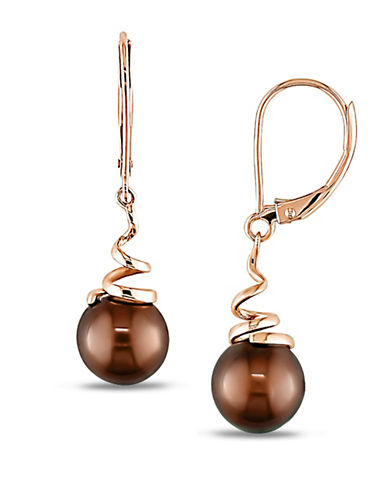 Concerto 8-8.5MM Brown Round Cultured Freshwater Pearl and 14K Yellow Gold Swirl Earrings-BROWN-One Size