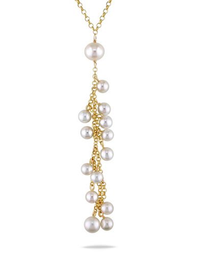 Concerto 7-9MM White Cluster Cultured Pearl Lariat and 14K Yellow Gold Necklace-WHITE-One Size