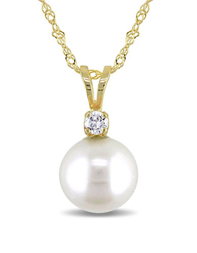 Concerto 8-8.5mm Cultured Pearl and 14K Yellow Gold Necklace with 0.05 TCW Diamonds-WHITE-One Size