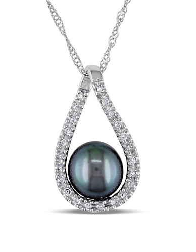 Concerto 6.5-7mm Cultured Black Freshwater Pearl and 14k White Gold Necklace with 0.10 TCW Diamonds-BLACK-One Size
