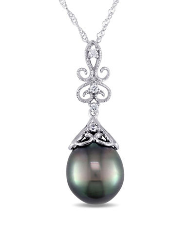 Concerto 9-10mm Cultured Tahitian Pearl and 14K White Gold Vintage Necklace with 0.03 TCW Diamonds-BLACK-One Size