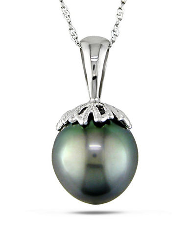 Concerto 14K White Gold 10-10.5mm Cultured Tahitian Pearl Necklace-BLACK-One Size