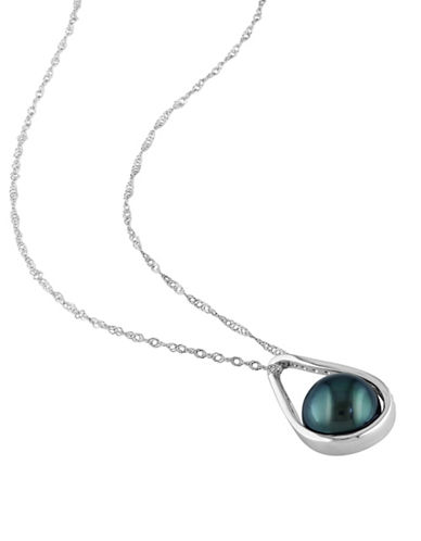 Concerto 8.5-9mm Cultured Tahitian Pearl and 14K White Gold Necklace with 0.10 TCW Diamonds-BLACK-One Size