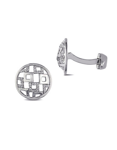 Concerto Sterling Silver Lattice Cufflinks with 0.198 TCW Diamonds-DIAMOND-One Size