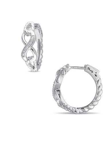 Concerto 0.048 TCW Diamond Infinity Hoop Earrings in Sterling Silver-DIAMOND-One Size