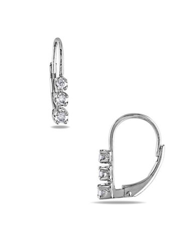 Concerto Sterling Silver 0.25 TCW Diamond Three-Stone Earrings-DIAMOND-One Size