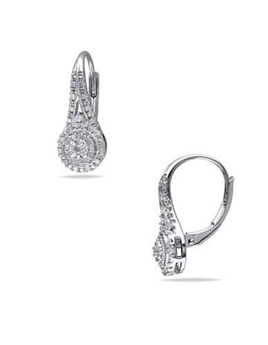 Concerto 0.254 TCW Diamond Halo Leverback Earrings in Sterling Silver-DIAMOND-One Size