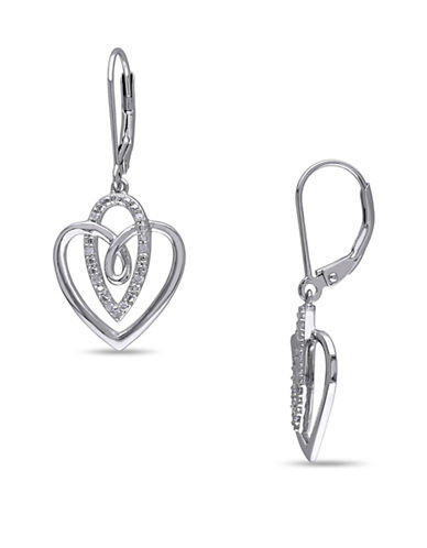 Concerto Sterling Silver Heart Earrings with 0.10 TCW Diamonds-DIAMOND-One Size