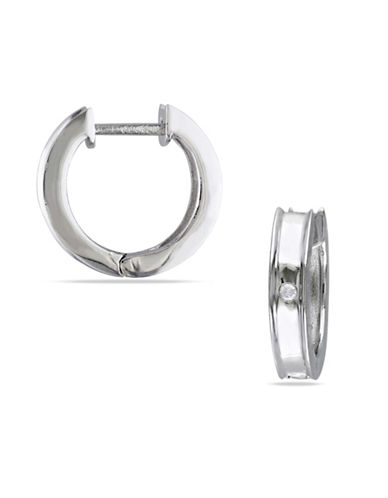 Concerto Sterling Silver 0.02 TCW Diamond Hoop Earrings-DIAMOND-One Size