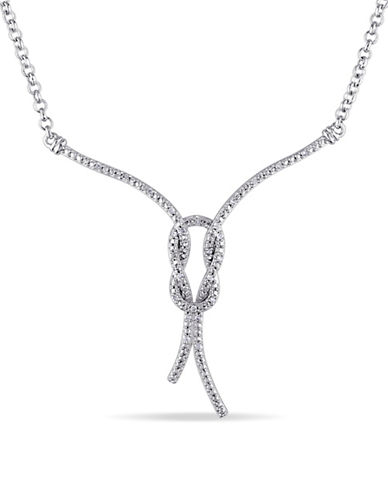 Concerto Sterling Silver Love Knot Necklace with 0.10 TCW Diamonds-DIAMOND-One Size