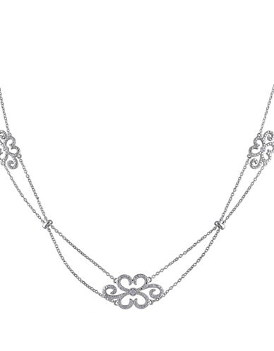 Concerto Sterling Silver Floral Necklace with 0.10 TCW Diamonds-DIAMOND-One Size