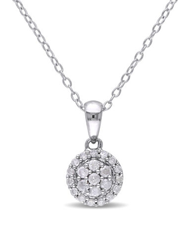 Concerto 0.26 TCW Diamond Halo Necklace in Sterling Silver-DIAMOND-One Size