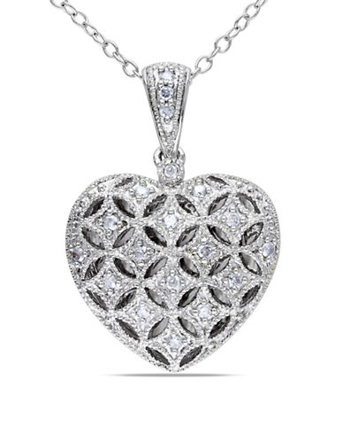 Concerto Sterling Silver 0.145 TCW Diamond Heart Locket Necklace-DIAMOND-One Size
