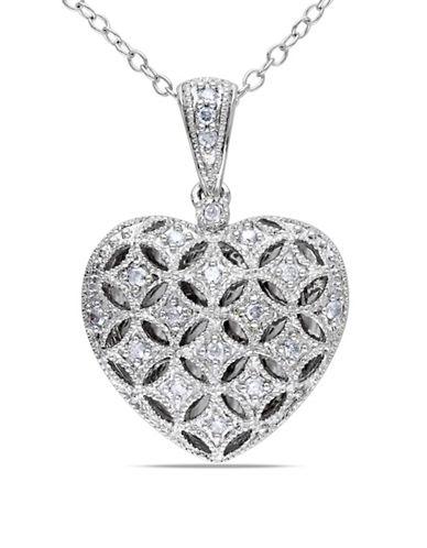 Concerto Sterling Silver 0.145 TCW Diamond Heart Locket Necklace-DIAMOND-One Size