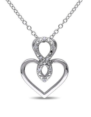 Concerto Sterling Silver Heart Pendant Necklace with 0.04 TCW Diamonds-DIAMOND-One Size