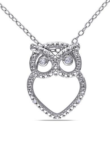 Concerto Sterling Silver 0.03 TCW Diamond Owl Necklace-DIAMOND-One Size